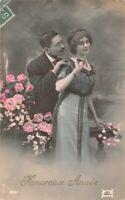 CPA Fantaisie - Heureuse Année - Couple d'amoureux entouré de fleurs
