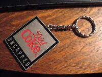 Diet Coke Keychain - Coca Cola Soda Pop Uncapped Pewter Coke Logo Key Ring Chain