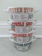 Set of 4 1991 Ljungberg Soup Bowls With New Orleans Recipes - Ex. Condition