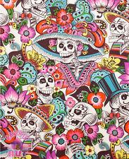 140151358 - Folklorico Dia De La Catrina White Sugar Skull Fabric by the Yard