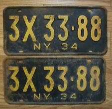 MATCHED PAIR of NEW YORK LICENSE PLATES - 1934 - 3X 33-88 - All original