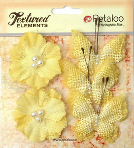 Burlap YELLOW 3 Butterflies 4x4.5cm & 2 Blossoms 4cm Across Petaloo 1203* BUR