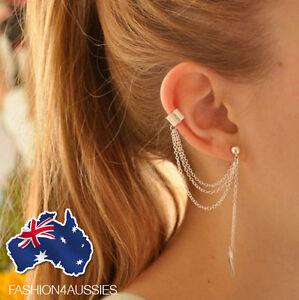 Punk Leaf Chain Tassel Dangle Ear Cuff Earring Girl Jewelry Fashion Silver