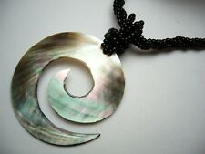 "Genuine Mother of Pearl 50mm Spiral Shape Sea Beads Necklace 18"" Long # 30147-1"