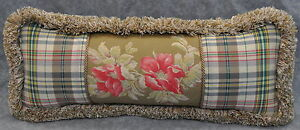 Brush Fringed Accent Pillow made w Ralph Lauren Boathouse Floral & Madras Plaid