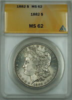 1882 Morgan Silver Dollar Coin $1, ANACS MS-62, Lightly Toned