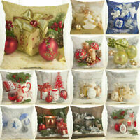 18inch Christmas Ball Cotton Linen Pillow Case Sofa Decor Waist Cushion Cover