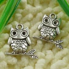 Free Ship 45 pieces tibetan silver owl charms 23x22mm #2426