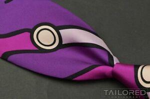"""HERMES SCARF PRINT Purple Geometric 100% Silk Mens Luxury Tie - 3.25"""""""