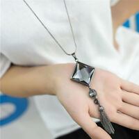 New Pendant Necklace Square Big Drop Crystal Long Chain Sweater Tassel For Women