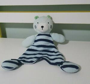 BABY SECURITY BLANKET TARGET BLUE TEDDY BEAR GREEN EARS STRIPES ON BELLY