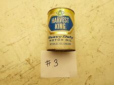 #3 VINTAGE HARVEST KING MOTOR OIL CONTAINER JAR CAN ANTIQUE CAR MEMORABILIA