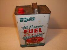 Vtg PATIO BRAND Tiki Torch BBQ Charcoal Grill Fuel Tin 1 Gallon Empty Can