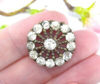 Antique Vintage Lace Shawl Brooch Pin with Clear Paste Glass