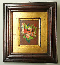Kleines dekoratives Ölbild mit Goldpassepartout, im Holzrahmen (Ö72)