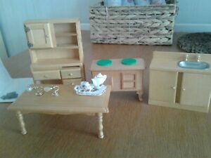Dolls House  wooden  Furniture  Bundle ( Aga Stove,Sink Unit, Table, Wall,Unit )