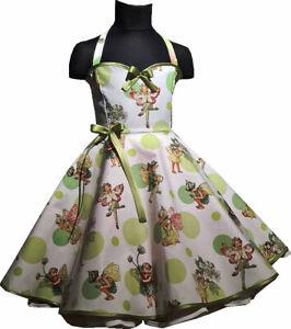 Kinder Petticoat Kleid Drehkleid Mädchen grün weiß Feen Elfen im Glitzer Punkte