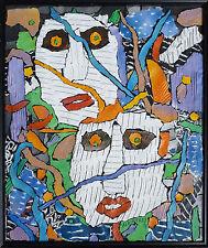 Peinture collage de Alain TREZ daté 1995 Art Brut Chaissac Dubuffet