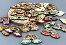 20pcs Retro rainbow wooden buttons for sewing clip decorative handicrafts 30 mm