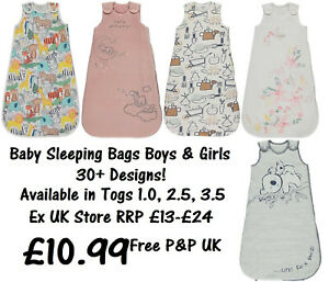 BABY SLEEPING BAG BOYS GIRLS EX UK STORE 1.0 - 3.5 Tog 0M-3Y COTTON BRAND NEW