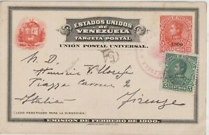 1900 VENEZUELA POSTAL STATIONERY CARD COVER TO ITALY