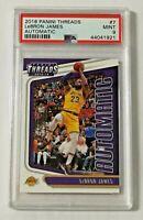 2018-19 Panini Threads Automatic PSA 9 Lebron James #7 Los Angeles Lakers