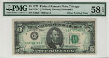 1977 $5 FEDERAL RESERVE NOTE OFFSET PRINTING ERROR PMG CHOICE AU 58 EPQ (189B)