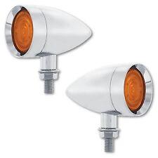 Ambre 9-LED Métal Chromé Balle Clignotant Phare Voiture Remorque Hot Rod Paire