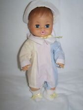 "Vintage HORSMAN DOLLS 13"" Vinyl Molded Hair Drink & Wet Baby w/Clothes"