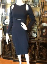Alexander Wang Navy Blue Dress With Cut Outs, Sz  S