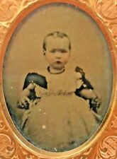 Daguerrotype of Baby Toddler Girl in Frilly Dress Victorian