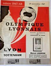 More details for olympic lyonnais v tottenham hotspur  programme ecw cup 2nd rnd.1st leg 29/11/67