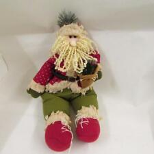 Santa Father Christmas sitting decoration red green beard fabric figurine tradit