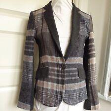 Zara Check Giacca Jersey con biancheria MISTO LANA PAESE Overlay Grigio Taglia S Uk 10