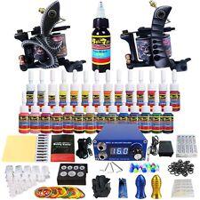 Tattoo Kits 2 Machine Guns Power Supply Needle Grips 28 Ink Set TKB04