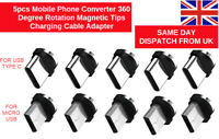 5pcs Mobile Phone Converter 360 Degree Rotation Magnetic Tips Charging Cable Ada