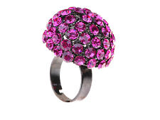 Cute Large Round Fuschia Purple Rhinestone Crystal Cocktail Fashion Costume Ring