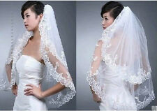 New 2T White Ivory Elbow Wedding Bridal Veil dress lace edge+Comb Free Shipping