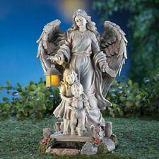 Solar Guardian Angel Children Figurine Garden Statue Yard Lawn Sculpture Decor