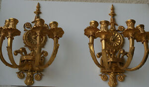 Pair of 19th Century decorated and detailed French Dore Bronze Sconces