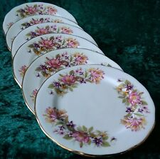 Vintage Colclough Wayside Tea Set 6x Side Plates 8581 Honeysuckle Rose VGC