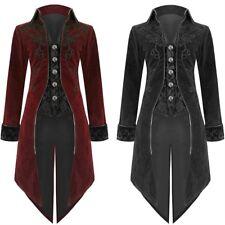 Retro Men's Jacket Goth Steampunk Uniform Costume Praty Outwear Long Coat Fit UK