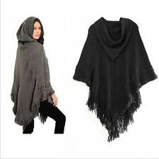 Lady Poncho Stole Cape Shrug Wrap Shawl Jacket Jumper Sweater Hoodie Hood Pretty