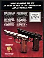 1987 TAURUS Model 99 and 92 Pistol PRINT AD Collectible Gun Advertising