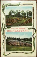 1911 Rochester, NY Postcard w/Cattail Border - Flowers in Bloom, Highland Park