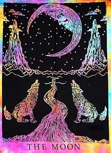 Weinendes Wolf Zu The Moon Druck Batik Färbung (Farben Abweichen) Einzelnes