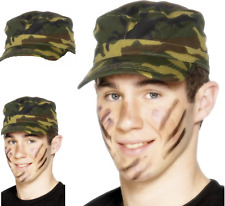 Camouflage Army Cap Green Hat Fancy Dress Costume Accessory Smiffys 29136