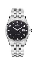 Edox Women's 33018 3 NIN WRC Luminous Date Black Dial Stainless Steel Bracelet