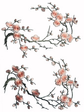 Two Asian Cherry Blossom Sakura Flower Iron on Embroidered Appliques Patch Japan