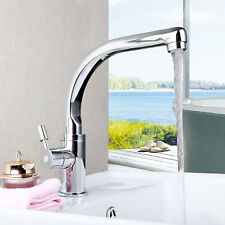 Bathroom Deck Mount Sink Basin Swivel Spout Mixer Faucet Chrome Tap Single Hole